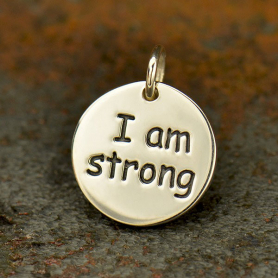 Sterling Silver Message Pendant - I am Strong