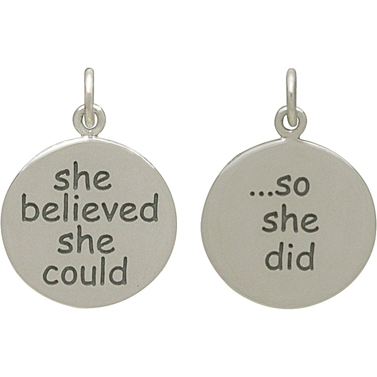 Silver Message Pendant -She Believed She Could So 20x15mm