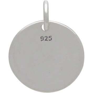 Sterling Silver Message Pendant - Never Give Up 15x12mm
