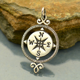 Sterling Silver Compass Charm - Graduation Charms 27x15mm