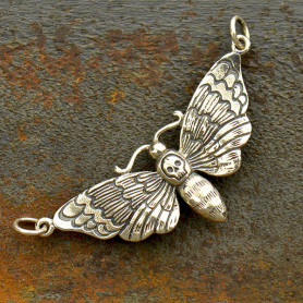 Sterling Silver Deaths Head Moth Pendant Festoon20x41mm