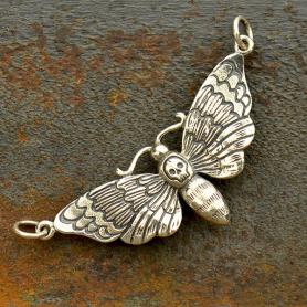 Sterling Silver Deaths Head Moth Charm - Halloween Charm