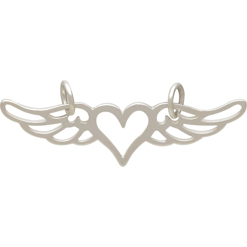 Silver Heart Pendant Festoon with Wings DISCONTINUED