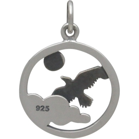 Sterling Silver Raven Charm - Flying Bird Charm 21x15mm