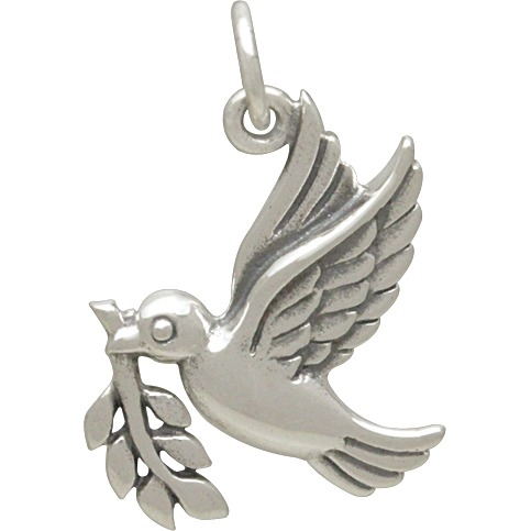 Sterling Silver Peace Dove Charm - Christmas Charm 22x17mm