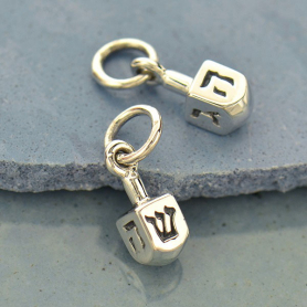 Sterling Silver Dreidel Charm - Faith Charms 13x4mm