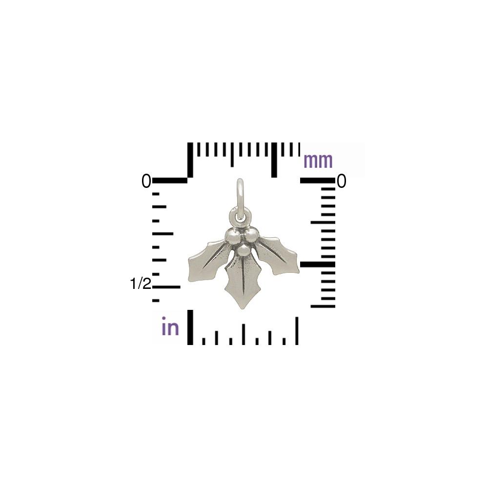 Sterling Silver Holly Berry Charm - Mistletoe Charm 16x14mm