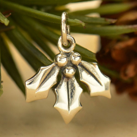 Sterling Silver Holly Berry Charm - Mistletoe Charm