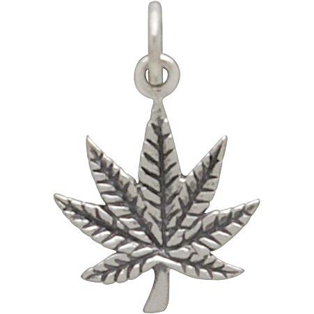 Sterling Silver Pot Leaf Charm - Maple Leaf 19x13mm