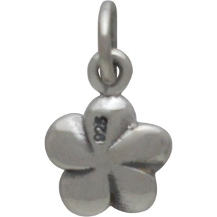 Sterling Silver Plumeria Flower Charm 14x8mm
