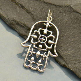Sterling Silver Large Hamsa Hand Pendant - Yoga Charm
