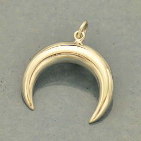 Sterling Silver Double Horn Crescent Moon Pendant