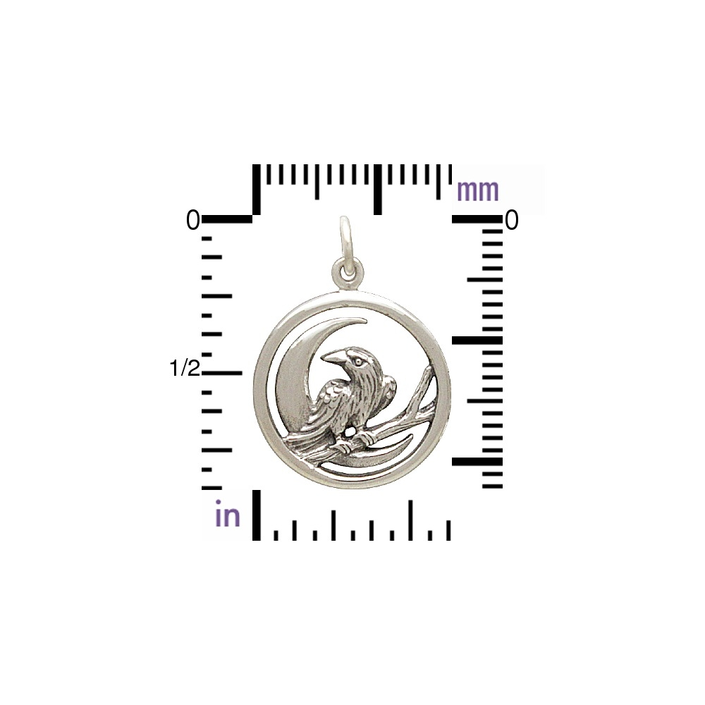 Sterling Silver Raven and Moon Charm - Raven Charm 23x17mm