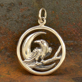 Sterling Silver Raven and Moon Charm - Raven Charm