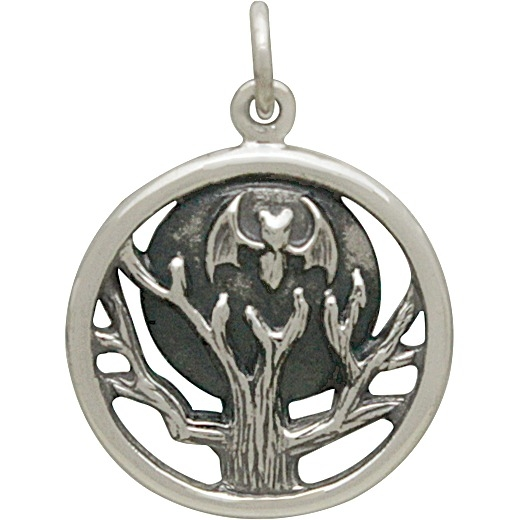 Sterling Silver Bat Moon and Tree Charm 23x17mm