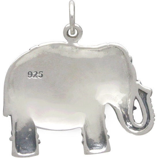 Large Sterling Silver Indian Elephant Pendant 23x22mm