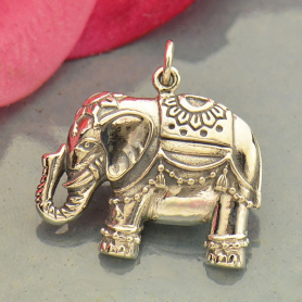 Large Sterling Silver Indian Elephant Pendant