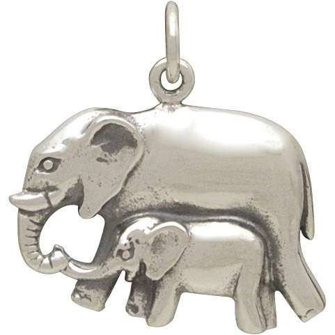 Sterling Silver Mama and Baby Elephant Pendant 20x21mm