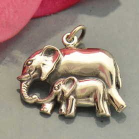 Sterling Silver Mama and Baby Elephant Pendant