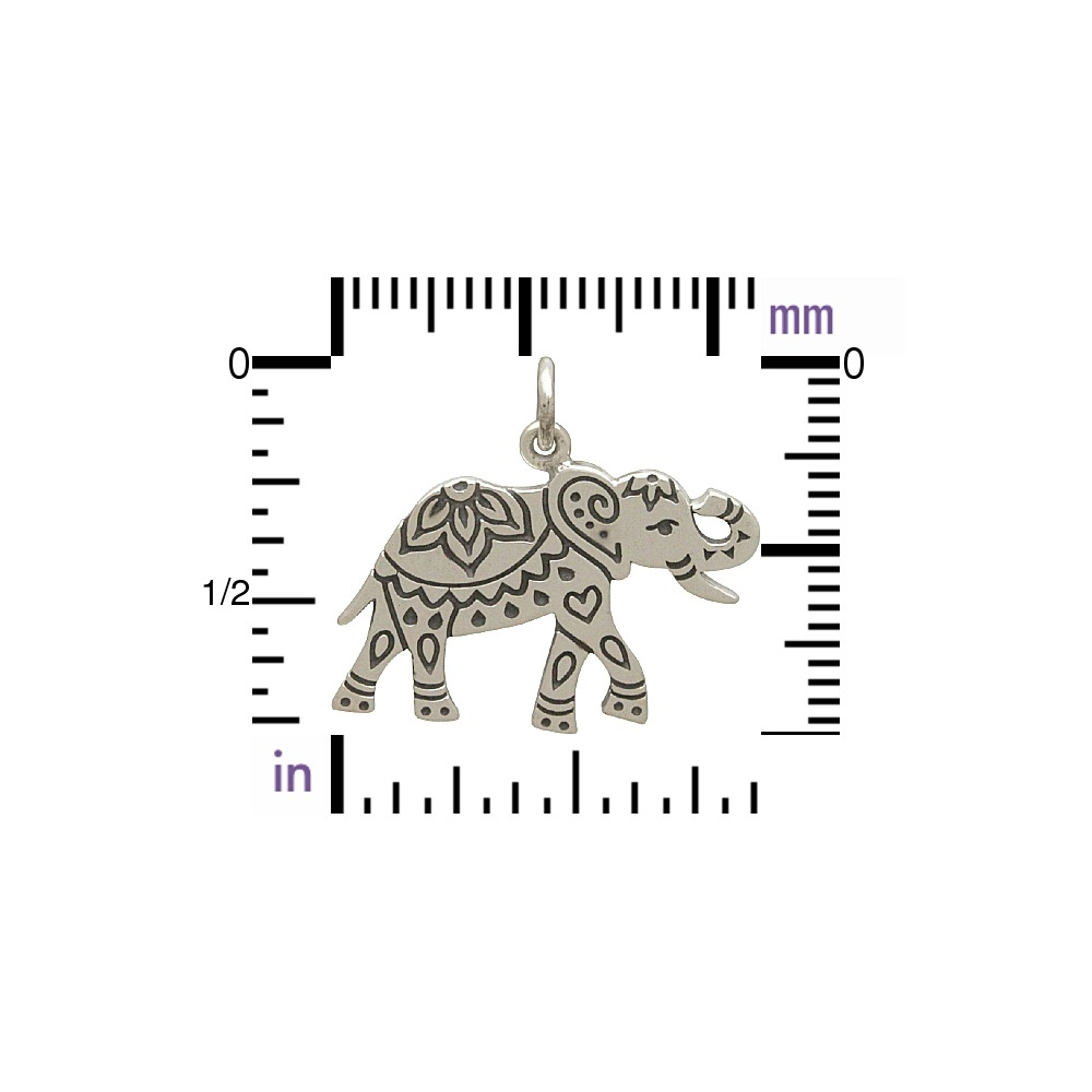 Sterling Silver Decorated Etched Elephant Charm 21x22mm