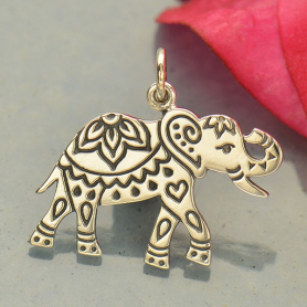 Sterling Silver Decorated Elephant Charm - Etched Elephant