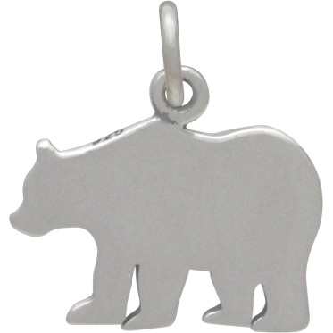 """Sterling Silver Mama Bear Charm - Etched """"Mama Bear"""" 17x15mm"""