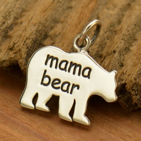 Sterling Silver Mama Bear Charm - Etched