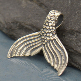Sterling Silver Mermaid Tail Pendant - Mermaid Charm 15x16mm