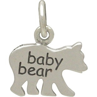 """Sterling Silver Baby Bear Charm - Etched """"Baby Bear"""" 13x11mm"""