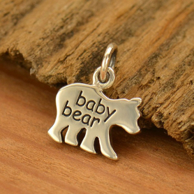 Sterling Silver Baby Bear Charm - Etched