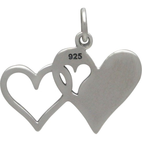 Sterling Silver Sister Charm - Two Linked Hearts 19x21mm
