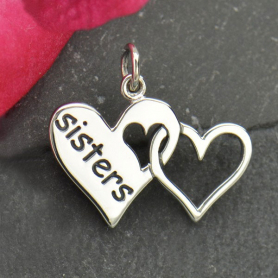 Sterling Silver Sister Charm - Two Linked Hearts