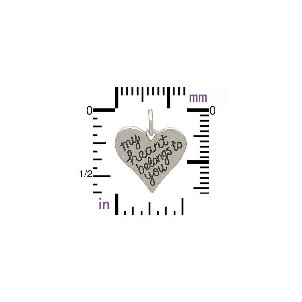 Silver Message Pendant - My Heart Belongs to You 16x13mm