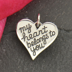 Silver Message Pendant - My Heart Belongs to You