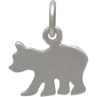Sterling Silver Baby Bear Stamping Blank 14x11mm
