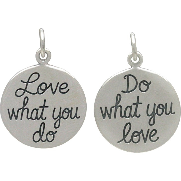 Silver Message Pendant -Do What You Love, Love What 20x15mm