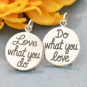 Silver Message Pendant - Do What You Love, Love What You Do