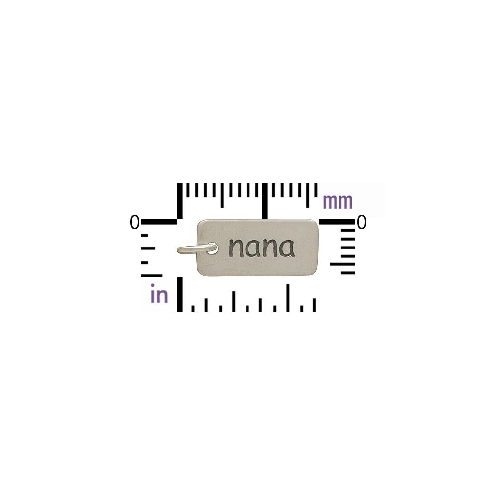 Sterling Silver Word Charm - Nana 17x7mm