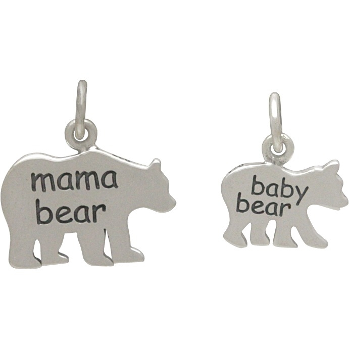 Sterling Silver Mama Bear and Baby Bear - Etched Set