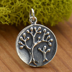 Sterling Silver Mama and Baby Tree of Life Charm 21x15mm