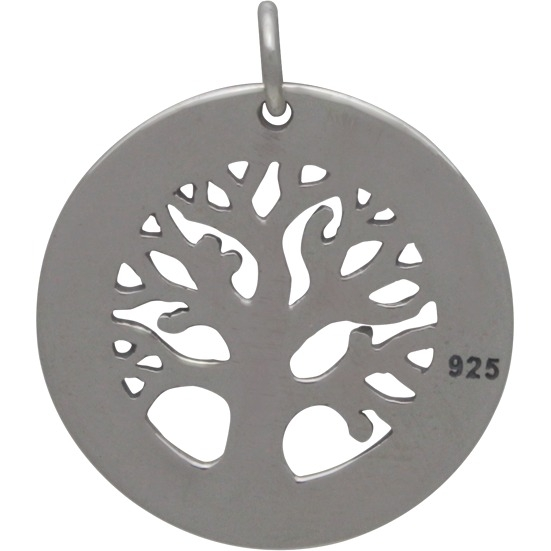 Silver Textured Tree of Life Stamping Blank Frame 24x21mm