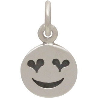 Sterling Silver Heart Eye Emoji Charm 14x8mm