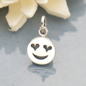 Sterling Silver Heart Eye Emoji Charm