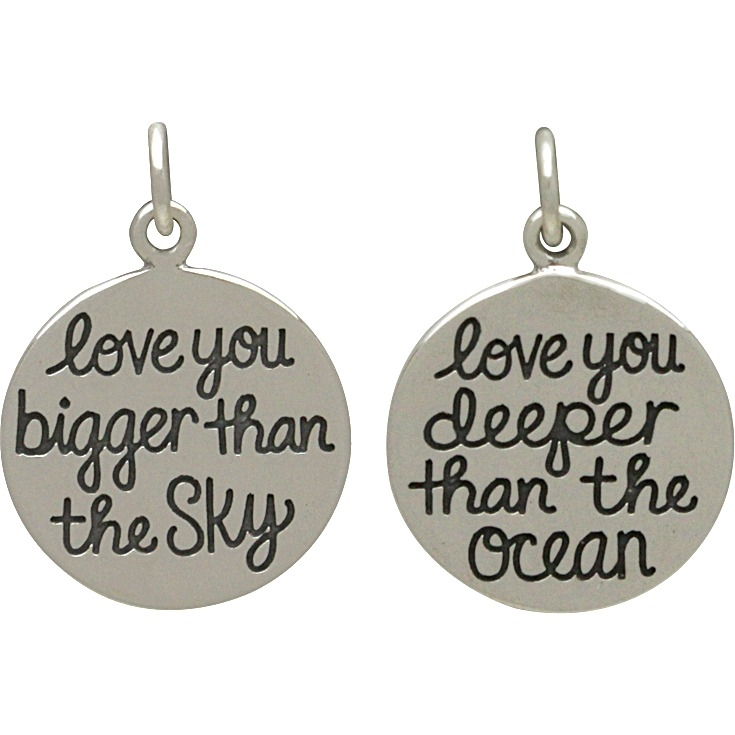 Silver Message Pendant -Love You Bigger Than the Sky 20x15mm
