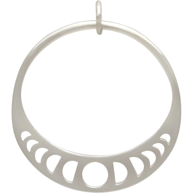 Sterling Silver Moon Phase Circle Pendant