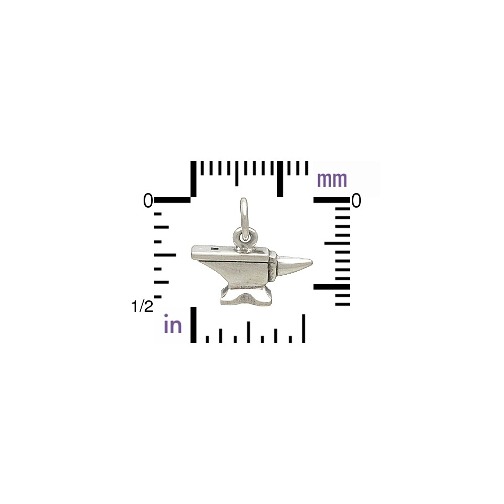 Sterling Silver Anvil Charm - Tiny Tool Charm 12x14mm