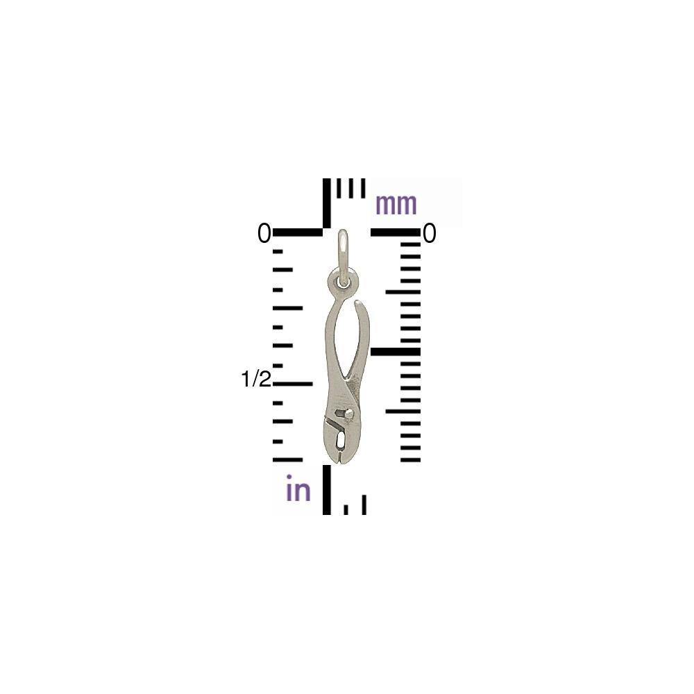 Sterling Silver Pliers Charm - Tiny Tool Charm 21x4mm