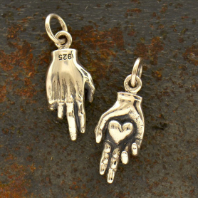 Sterling Silver Hand Holding Heart Charm 20x7mm