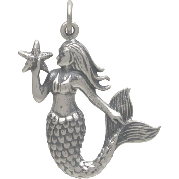 Sterling Silver Mermaid Pendant Holding a Starfish  27x18mm