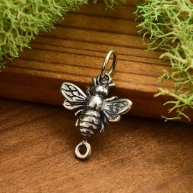 Sterling Silver Honey Bee Charm Link 17x12mm